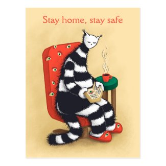 Weird Cat Reading At Home Book Lover Stay Home Postcard