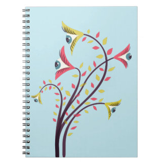 Weird Colorful Flowers With Staring Eyes Notebook