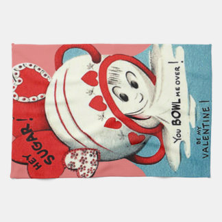 Weird Cute Funny Sugar Bowl Heart Valentine Tea Towel