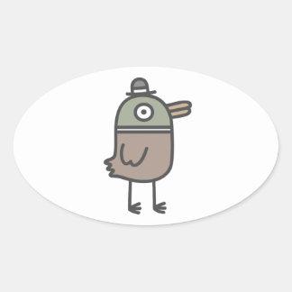 Weird Duck Oval Sticker