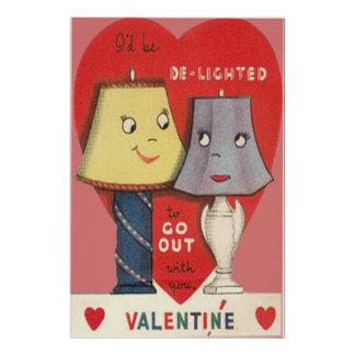 Weird Funny Lamp Light Heart Valentine Poster