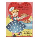 Weird Funny Mince Apple Pie Waitress Valentine Postcard