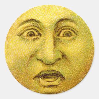 Weird Funny Vintage Moon Man Round Sticker