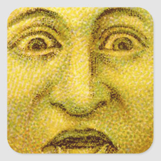 Weird Funny Vintage Moon Man Square Sticker