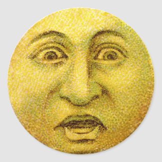 Weird Funny Vintage Moon Man Round Stickers