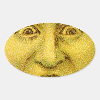 Weird Funny Vintage Moon Man Oval Sticker