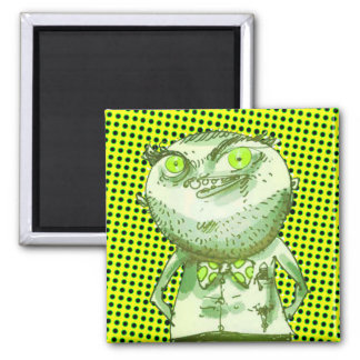 weird man is watching you funny cartoon square magnet
