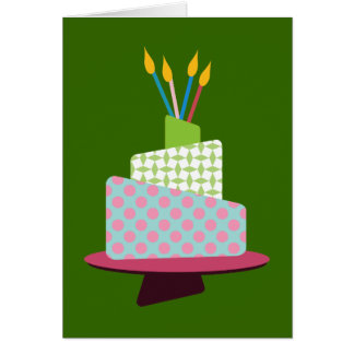 Weird Polka Dotted Birthday Cake Greeting Cards
