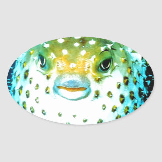 Weird Psycho Fish Graphic Photo Image Oval Sticker