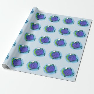 weird puffer fish funny cartoon wrapping paper