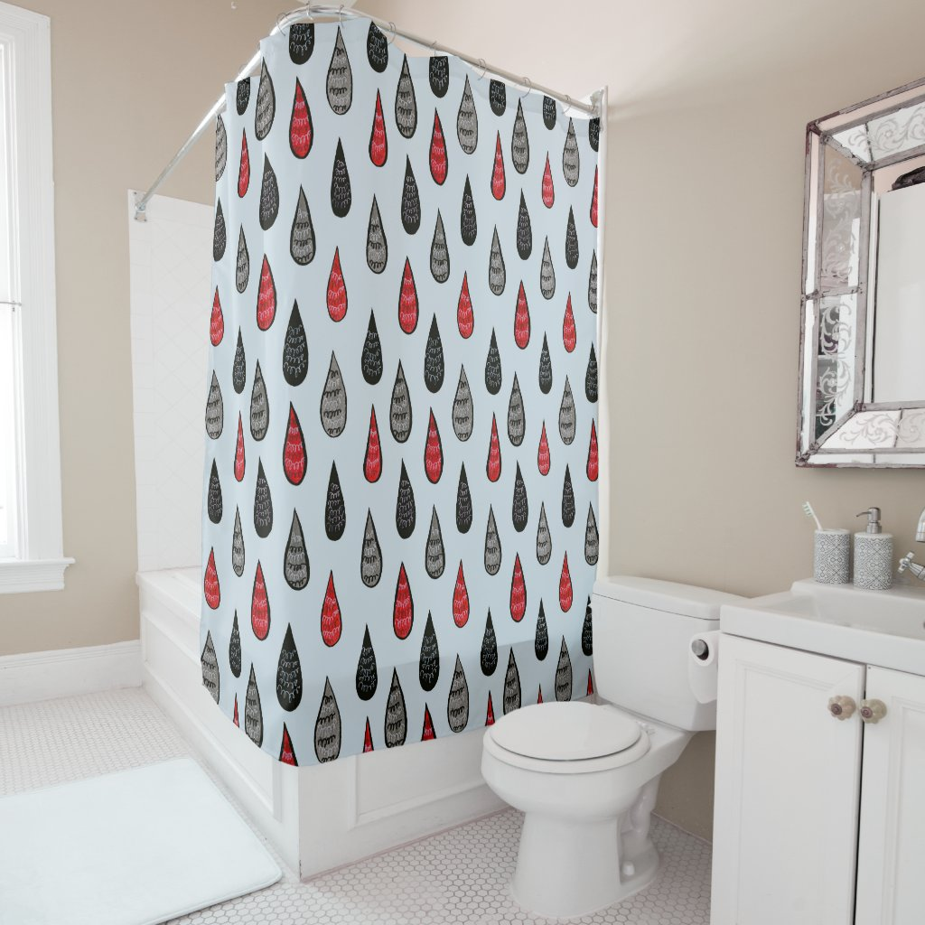Weird Rain And Blood Drops Ink Pattern Red Black Shower Curtain