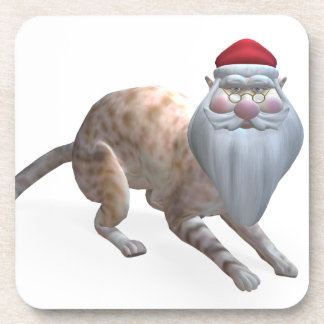 Weird Santa Claus Tiger Cat Beverage Coaster