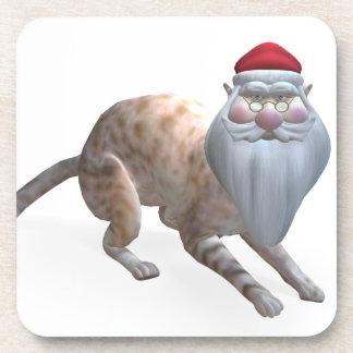 Weird Santa Claus Tiger Cat Beverage Coaster
