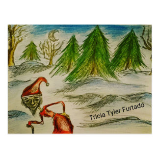 Weird santa painting postcard