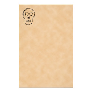 Weird Skull. Black. Sketch. Stationery
