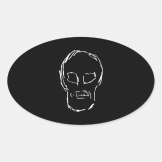 Weird Skull. White. Sketch. Oval Stickers