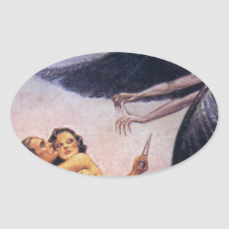 weird tales art oval sticker