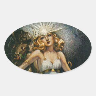 weird tales art oval sticker