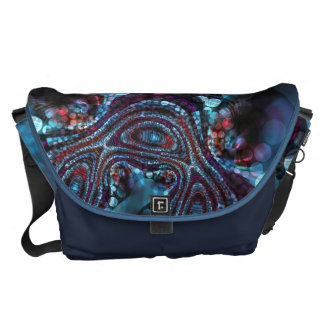 Weirdlight Abstract Blue Fractal - Large Courier Bags