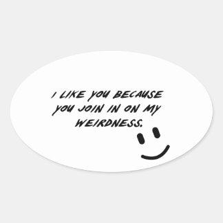 Weirdness Oval Stickers