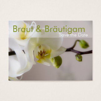 Weisse Orchidee • Save the Date Mini Karten Business Card
