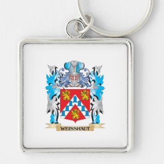 Weisshaut Coat of Arms - Family Crest Silver-Colored Square Keychain