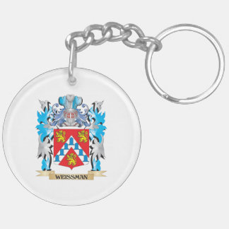 Weissman Coat of Arms - Family Crest Double-Sided Round Acrylic Keychain