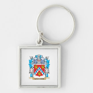 Weissman Coat of Arms - Family Crest Silver-Colored Square Keychain