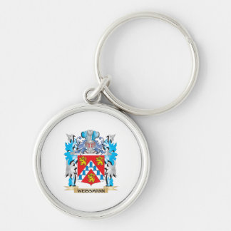 Weissmann Coat of Arms - Family Crest Silver-Colored Round Keychain