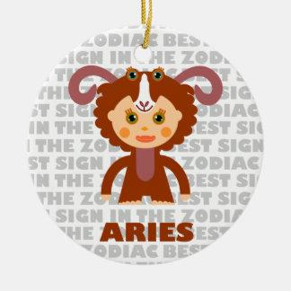 Welcom Aries Zodiac Baby! Double-Sided Ceramic Round Christmas Ornament