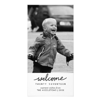 Welcome 2017 Handwritten Typography New Year Picture Card