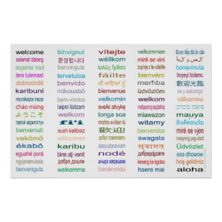 Welcome 80 Languages Poster - 5 sizes White