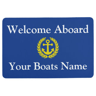 Welcome aboard boat or yacht floor mat