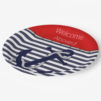 Welcome Aboard Nautical Anchor Chic Stripe Pattern Paper Plate