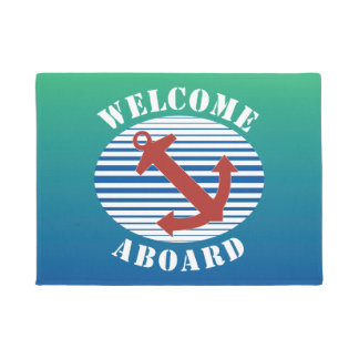 Welcome Aboard with nautical anchor and stripes Doormat