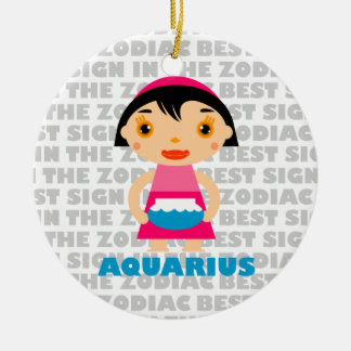 Welcome Aquarius Zodiac Baby! Double-Sided Ceramic Round Christmas Ornament