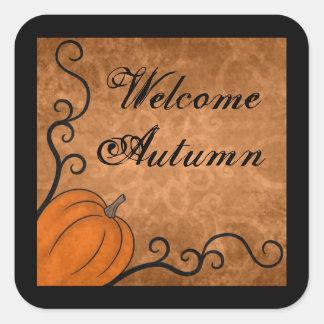 Welcome Autumn harvest pumpkin with swirls Square Sticker