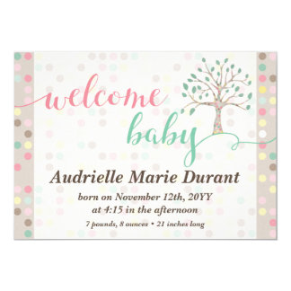 Welcome Baby Announcement Pastel Tree Custom Photo