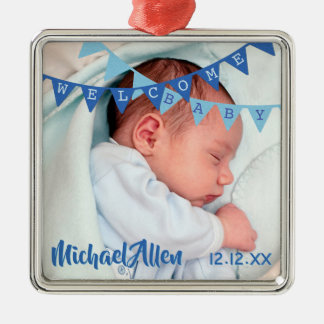 Welcome Baby Boy Blue Banners | Date, Name, Photo Christmas Ornament