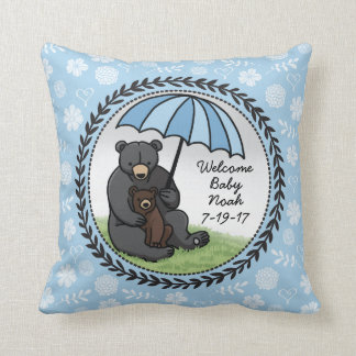 Welcome Baby Boy Mama Bear and Cub Personalized Cushion