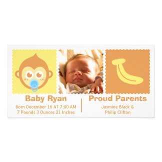 Welcome Baby Boy with Monkey Birth Announcement Customised Photo Card