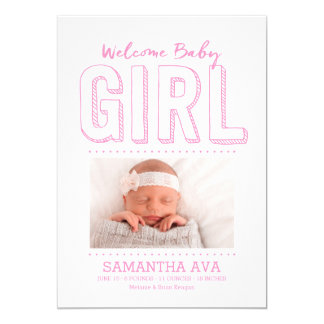 Welcome Baby Girl | Birth Announcement