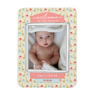 Welcome Baby Girl Birth Announcement Pink Elephant Magnet