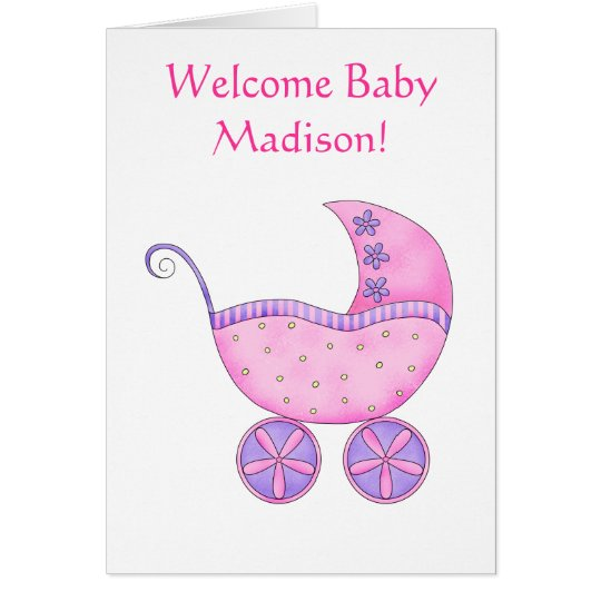 Welcome Baby Girl Name Personalised Pink Buggy Card
