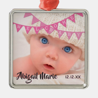 Welcome Baby Girl Pink Banners | Date, Name, Photo Christmas Ornament