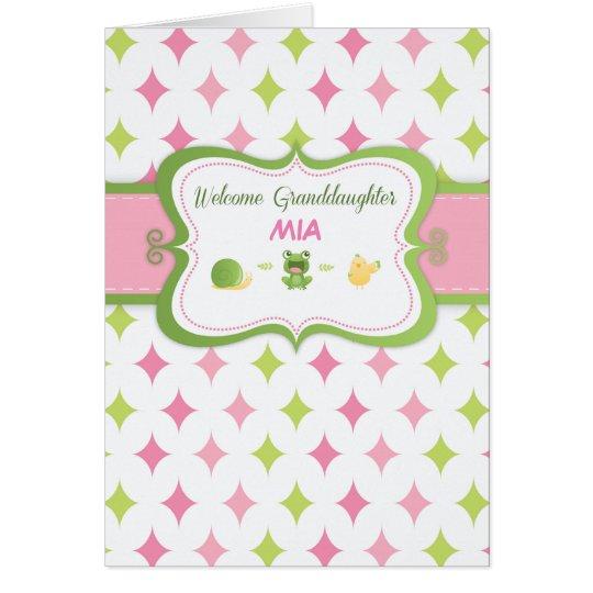 Welcome Baby Granddaughter Custom Personalised Nam Card