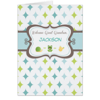 Welcome Baby Great Grandson Custom Personalized Na Card