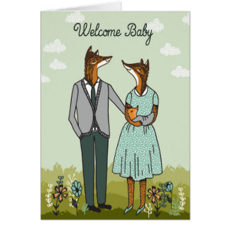 Welcome Baby - Hipster Foxes Baby Card