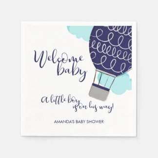 Welcome Baby Hot Air Balloon Boy Baby Shower Disposable Serviette