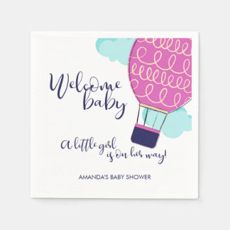 Welcome Baby Hot Air Balloon Girl Baby Shower Disposable Serviette